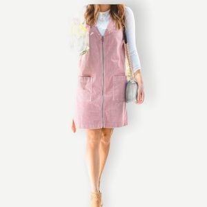 PROMESA Sz S Pink Corduroy Zip Up Dress